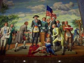 Настенная роспись. Вашингтон закладывает основание Капитолия