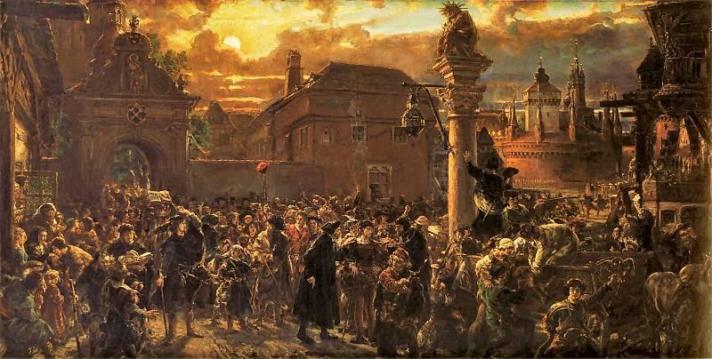 """Jan Matejko. """"Wyjście żaków z Krakowa za granicę w roku 1549"""""""